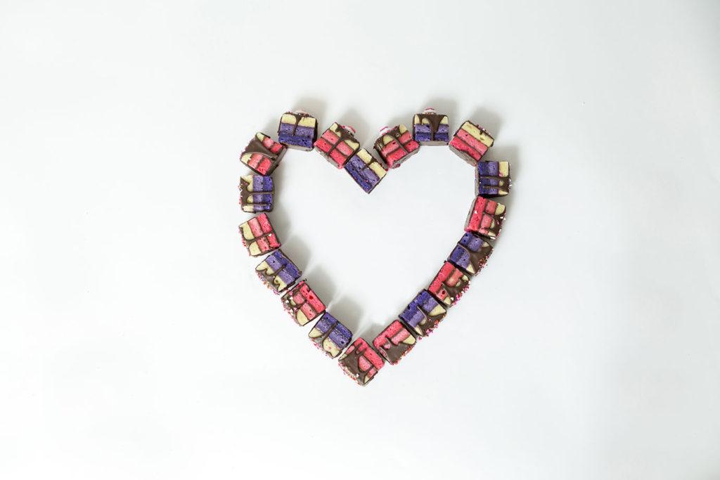 rainbow cookies in heart